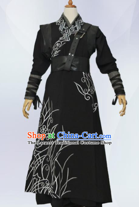 Traditional Chinese Ancient Nobility Childe Costume Han Dynasty Swordsman Black Clothing for Men