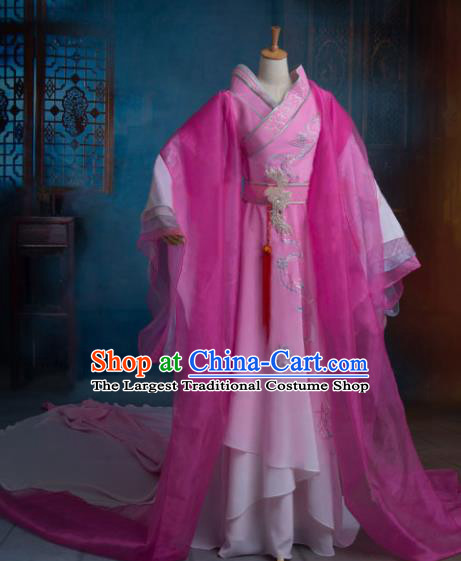 Traditional Chinese Han Dynasty Imperial Consort Pink Embroidered Dress Ancient Peri Historical Costume