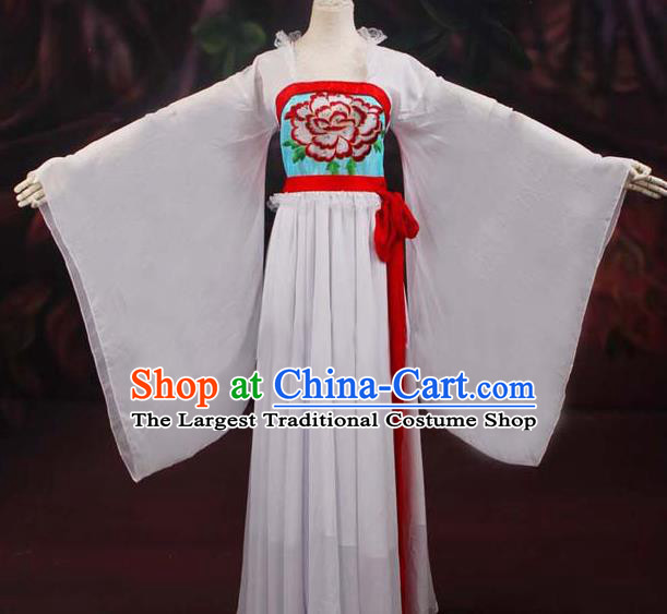 Traditional Chinese Tang Dynasty Court Maid White Embroidered Dress Ancient Peri Historical Costume