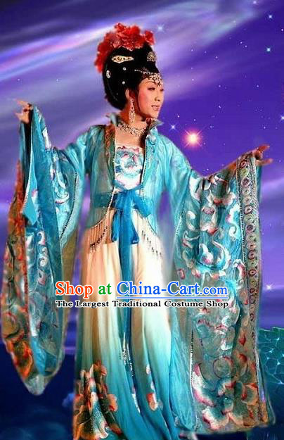 Traditional Chinese Ancient Tang Dynasty Imperial Concubine Blue Dress Historical Costume Complete Set