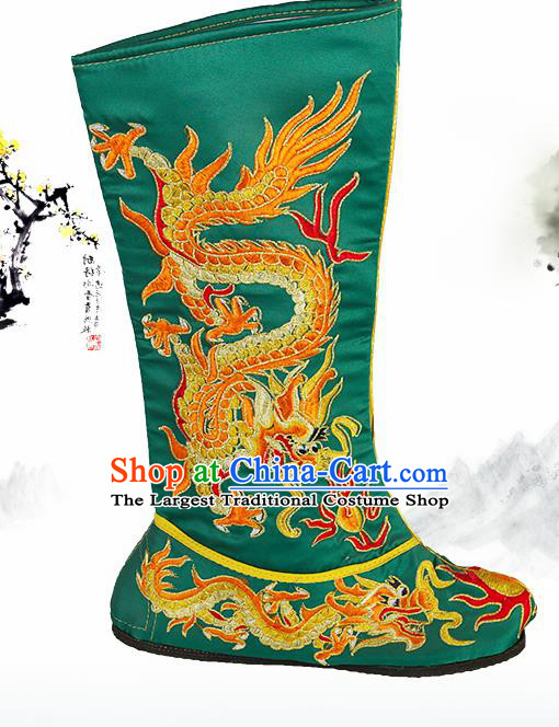 Asian Chinese Beijing Opera Shoes Emperor Green Embroidered Boots Traditional Peking Opera Shoes