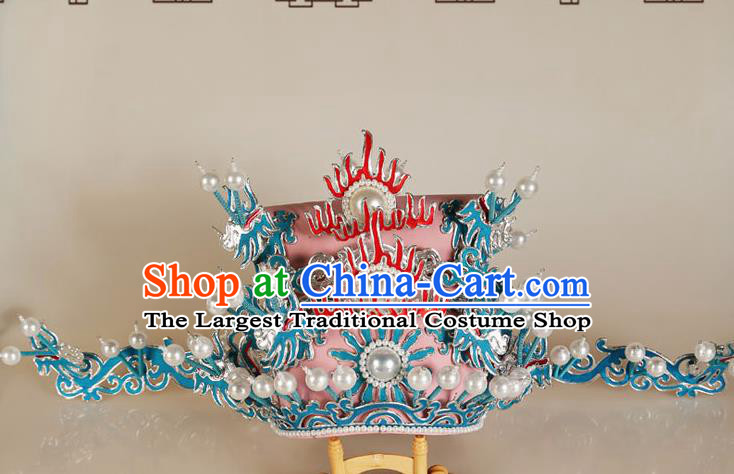 Asian Chinese Beijing Opera Headwear Traditional Peking Opera Prime Minister Pink Hat