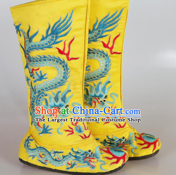 Asian Chinese Beijing Opera Shoes Emperor Yellow Embroidered Boots Traditional Peking Opera Shoes