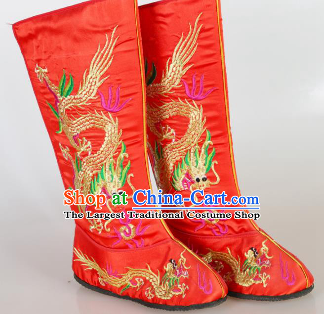 Asian Chinese Beijing Opera Shoes Emperor Red Embroidered Boots Traditional Peking Opera Shoes