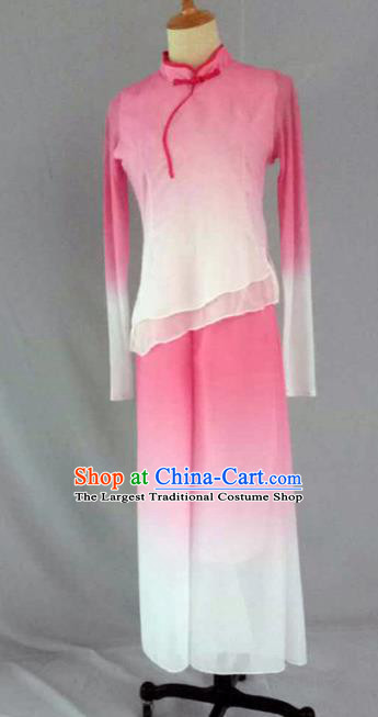Traditional Chinese Folk Dance Costume China Yangko Dance Pink Clothing for Women