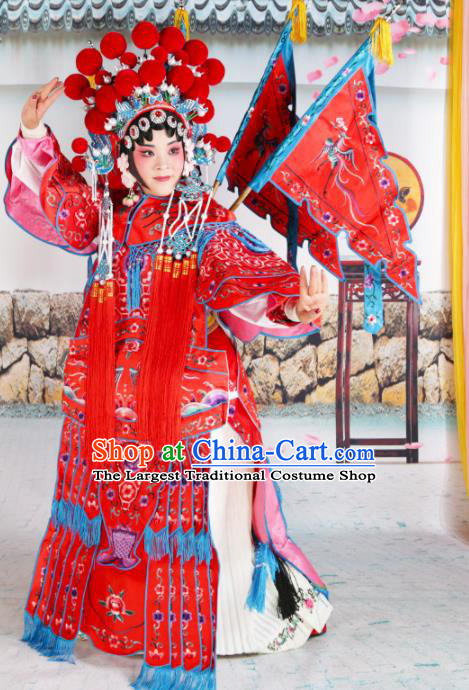 Traditional Chinese Beijing Opera Female General Red Costume Peking Opera Magic Warriors Clothing