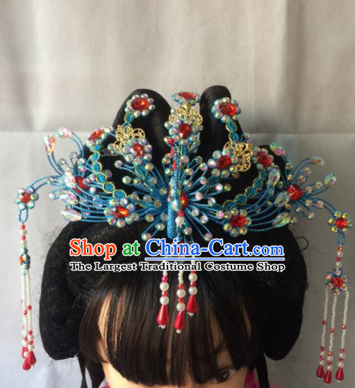 Asian Chinese Beijing Opera Hair Accessories Ancient Princess Blue Phoenix Coronet Hairpins for Women