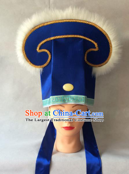 Asian Chinese Traditional Beijing Opera Niche Headwear Ancient Nobility Childe Royalblue Hat for Men