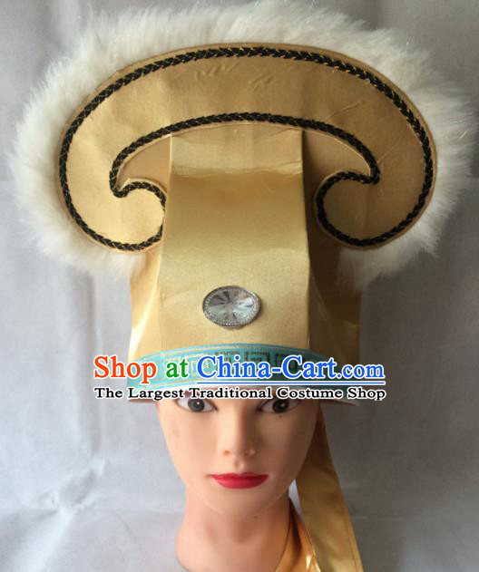 Asian Chinese Traditional Beijing Opera Niche Headwear Ancient Nobility Childe Golden Hat for Men