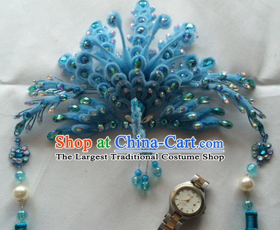 Asian Chinese Beijing Opera Hair Accessories Blue Phoenix Coronet Ancient Princess Hairpins for Women