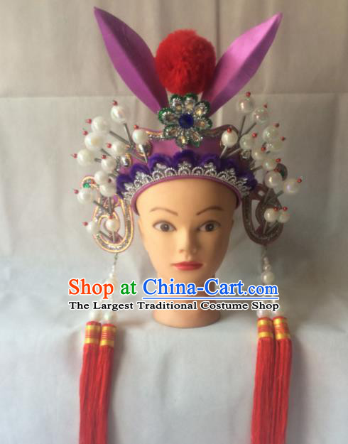 Asian Chinese Beijing Opera Hair Accessories Ancient Female Warrior Helmet for Women