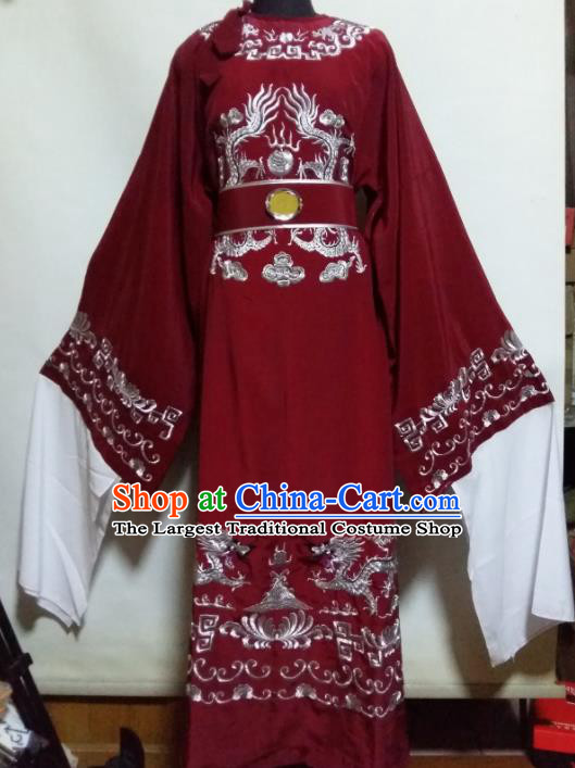 Traditional Chinese Beijing Opera Chancellor Costume Ancient Minister Red Clothing