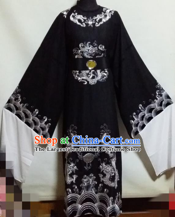 Traditional Chinese Beijing Opera Chancellor Costume Ancient Minister Black Clothing