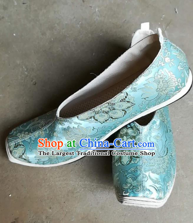 Asian Chinese Traditional Hanfu Shoes Ancient Song Dynasty Blue Brocade Shoes for Men
