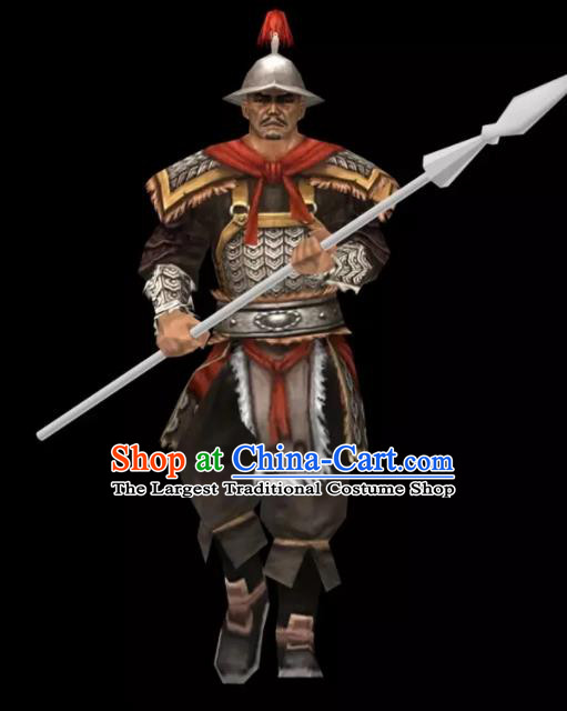 Chinese Ancient Drama Yuan Dynasty Warrior General Body Armor and Helmet Complete Set