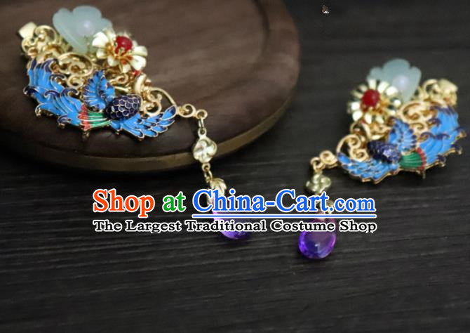 Chinese Ancient Palace Hair Accessories Traditional Classical Blueing Phoenix Hair Sticks for Women