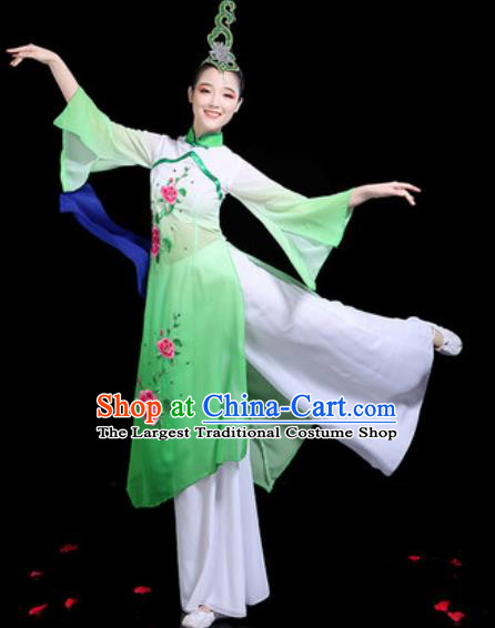 Traditional Chinese Stage Performance Costume Classical Dance Umbrella Dance Green Dress for Women