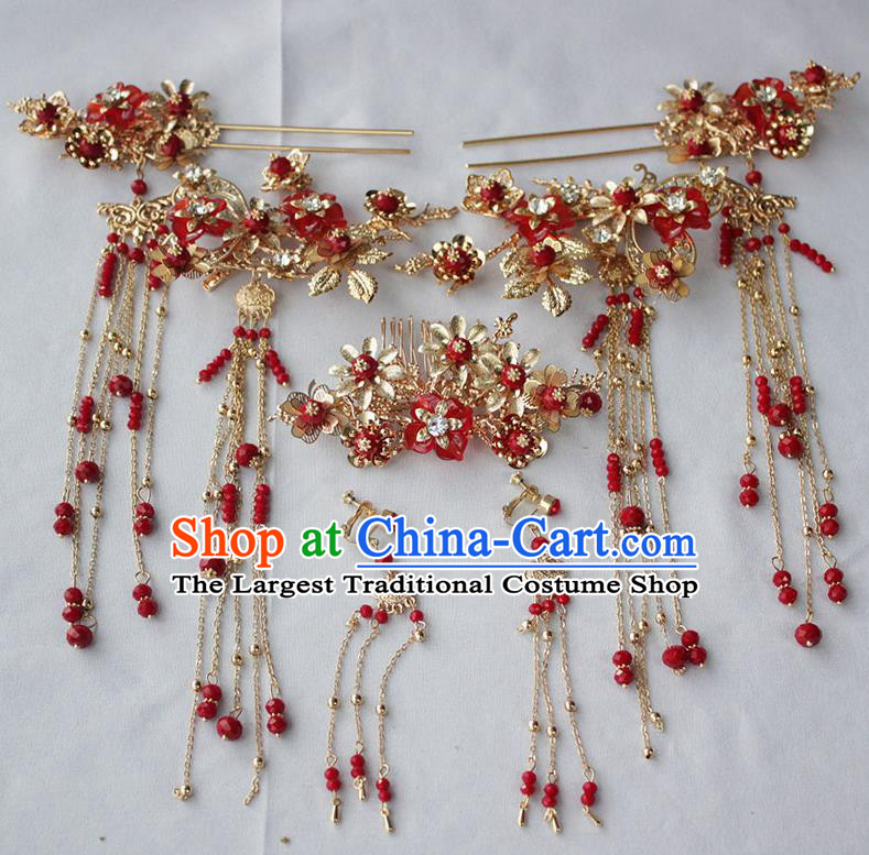 Chinese Ancient Palace Wedding Hair Accessories Traditional Classical Tassel Hairpins Complete Set for Women