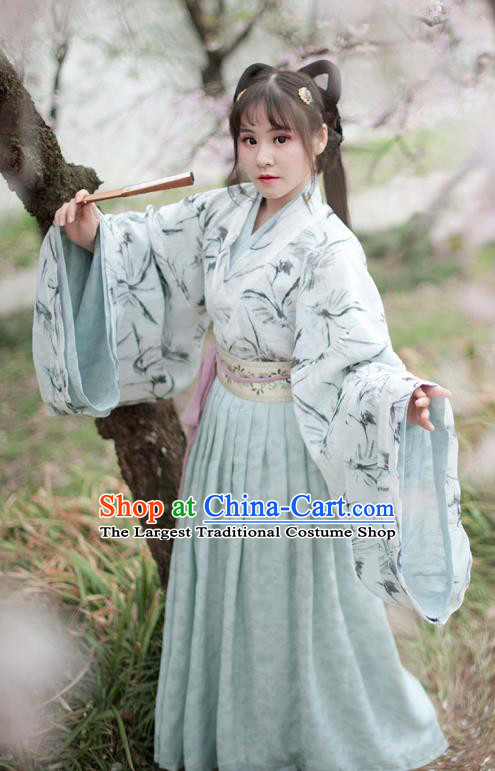 Traditional Chinese Ancient Peri Green Hanfu Dress Jin Dynasty Aristocratic Lady Historical Costume for Women