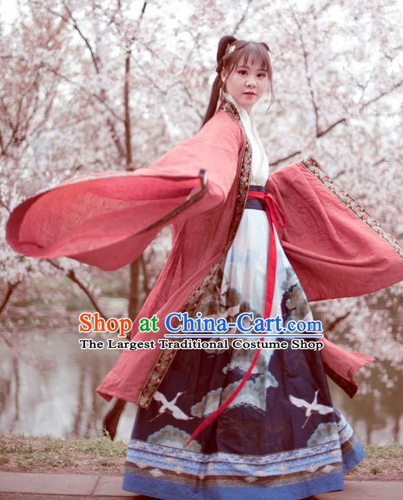 Traditional Chinese Ancient Swordswoman Hanfu Dress Jin Dynasty Princess Historical Costume Complete Set for Women
