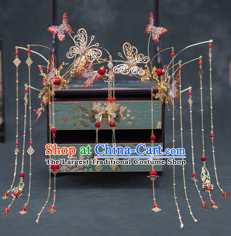 Chinese Ancient Bride Wedding Hairpins Traditional Red Butterfly Phoenix Coronet Hair Accessories for Women