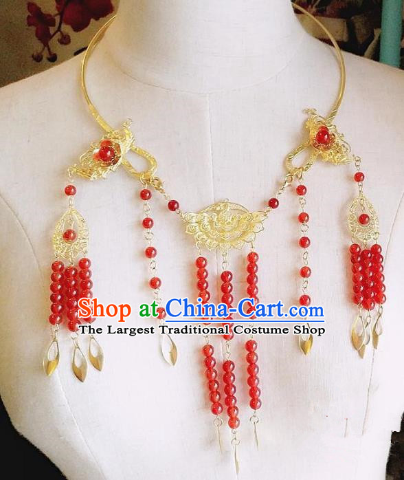 Chinese Ancient Bride Hanfu Accessories Traditional Palace Red Beads Tassel Necklace for Women