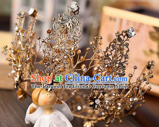 Top Grade Wedding Hair Accessories Traditional Baroque Golden Round Royal Crown for Women