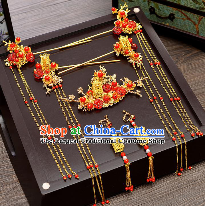 Chinese Ancient Palace Hair Accessories Wedding Tassel Hairpins Traditional Xiuhe Suit Hair Clips for Women