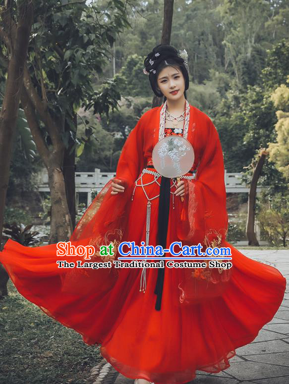 Traditional Chinese Tang Dynasty Court Princess Replica Costumes Ancient Drama Peri Red Hanfu Dress for Women