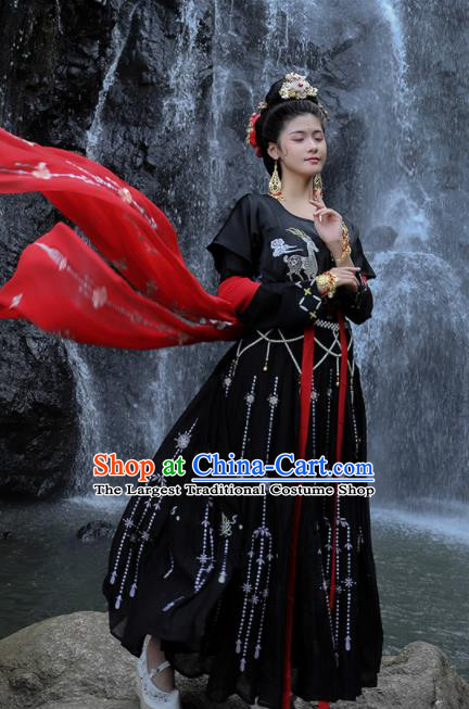 Traditional Chinese Tang Dynasty Palace Lady Replica Costumes Ancient Drama Peri Black Hanfu Dress for Women