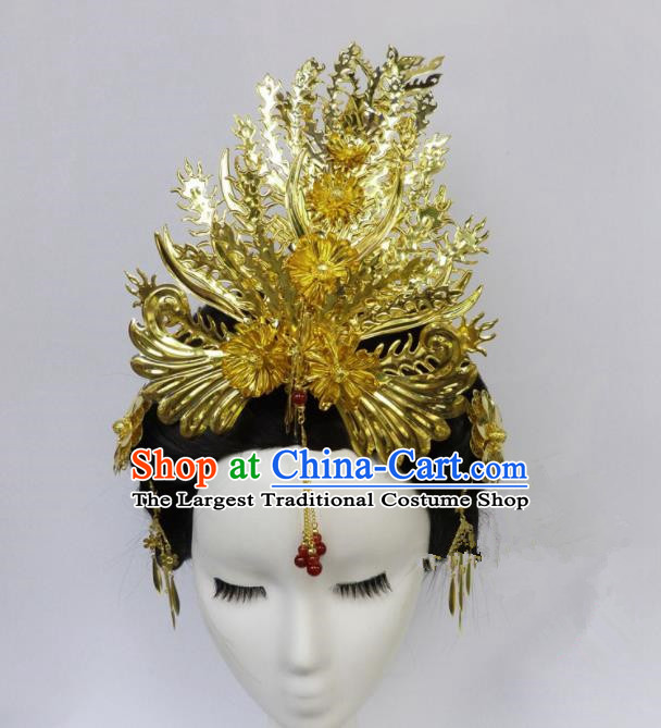 Chinese Ancient Queen Golden Phoenix Coronet Palace Hairpins Hair Accessories Traditional Hair Comb for Women