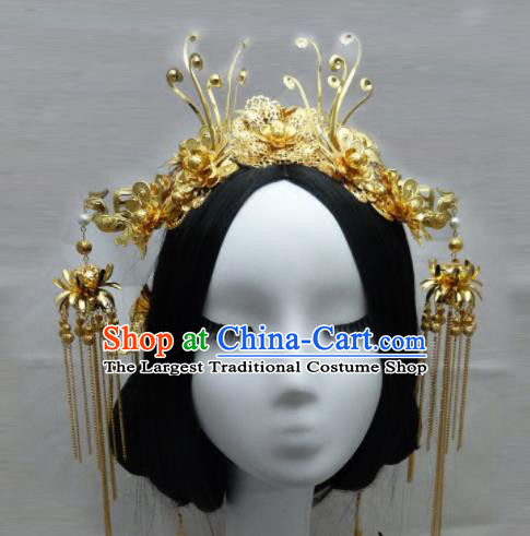 Chinese Ancient Queen Golden Phoenix Coronet Hair Accessories Traditional Palace Hairpins for Women