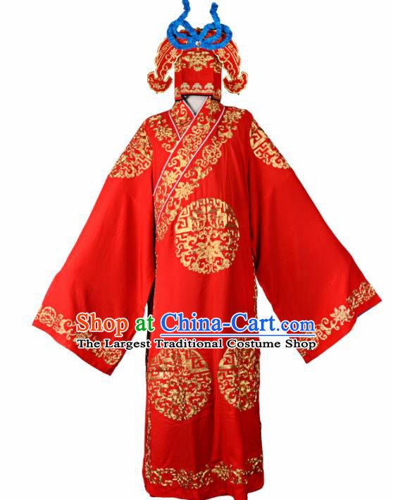 Professional Chinese Beijing Opera Costume Traditional Peking Opera Scholar Red Robe and Hat for Adults
