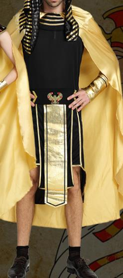 Traditional Egypt Pharaoh Costume Ancient Egypt King Garment Black Clothing for Men