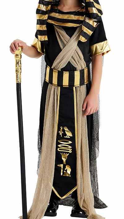 Traditional Egypt Presbyter Costume Ancient Egypt King Black Clothing for Men