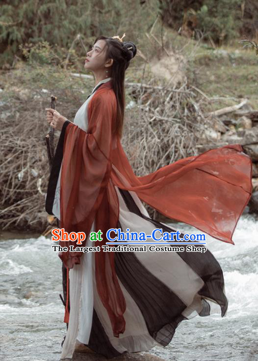Chinese Ancient Swordswomen Hanfu Dress Traditional Jin Dynasty Replica Costume for Women