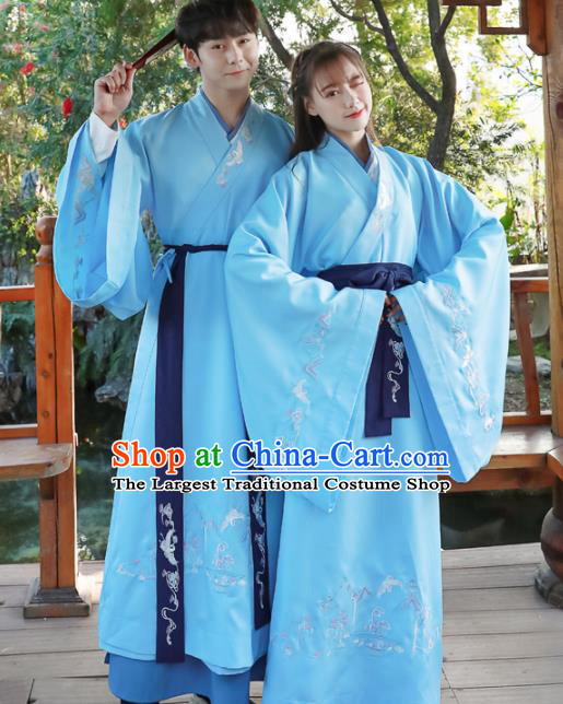 Chinese Ancient Swordsman Blue Hanfu Dress Traditional Han Dynasty Scholar Replica Costume for Women for Men