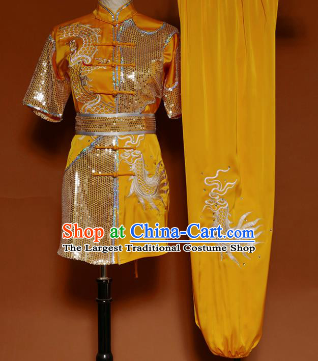 Top Kung Fu Competition Costume Group Martial Arts Gongfu Training Yellow Uniform for Men