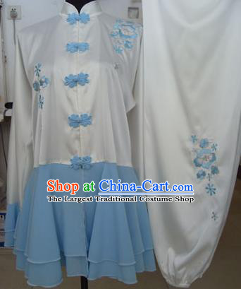Chinese Traditional Tai Chi Embroidered Blue Uniform Kung Fu Group Competition Costume for Women