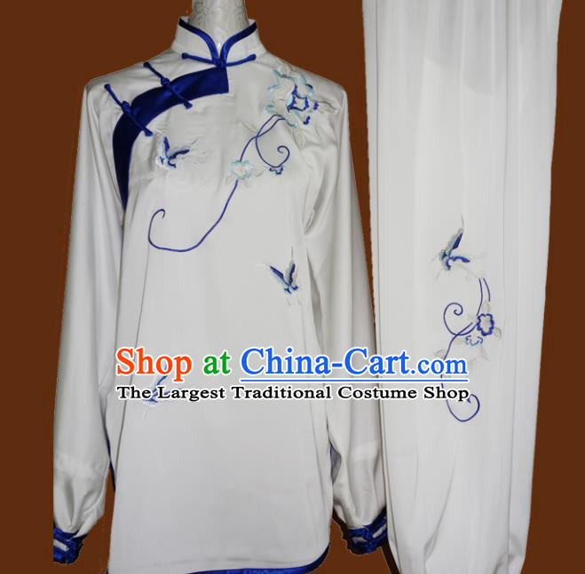 Chinese Traditional Tai Chi Embroidered Blue Butterfly Uniform Kung Fu Group Competition Costume for Women