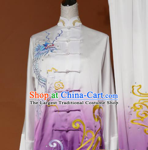 Chinese Traditional Tai Chi Embroidered Purple Silk Uniform Kung Fu Group Competition Costume for Women