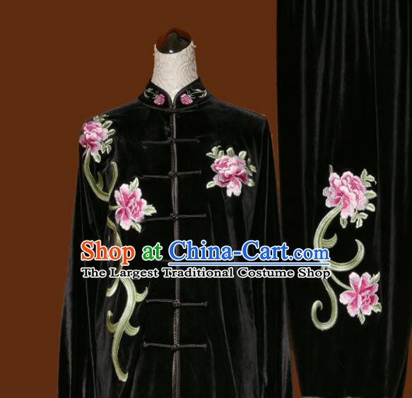 Chinese Traditional Tai Chi Embroidered Peony Black Velvet Uniform Kung Fu Group Competition Costume for Women