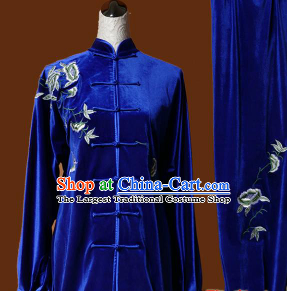 Chinese Traditional Tai Chi Embroidered Peony Royalblue Velvet Uniform Kung Fu Group Competition Costume for Women