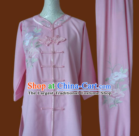 Chinese Traditional Tai Chi Embroidered Pink Uniform Kung Fu Group Competition Costume for Women