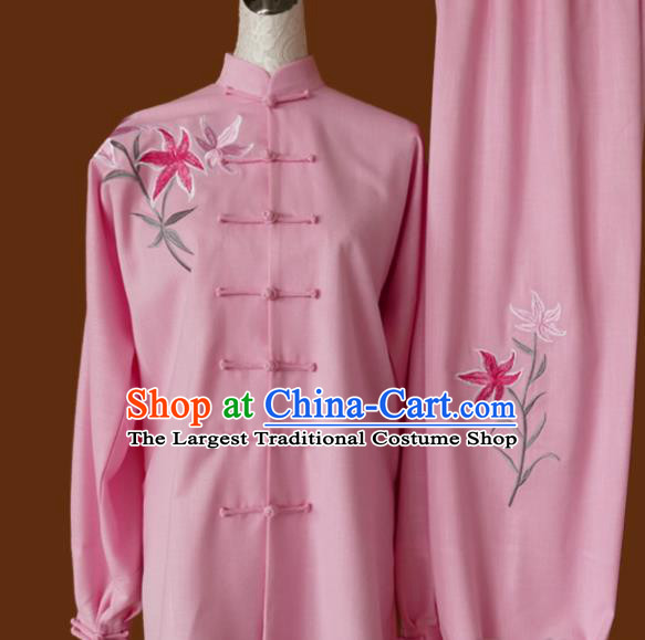 Chinese Traditional Tai Chi Embroidered Orchid Pink Uniform Kung Fu Group Competition Costume for Women