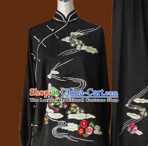 Chinese Traditional Tai Chi Black Uniform Kung Fu Group Competition Embroidered Pine Costume for Women