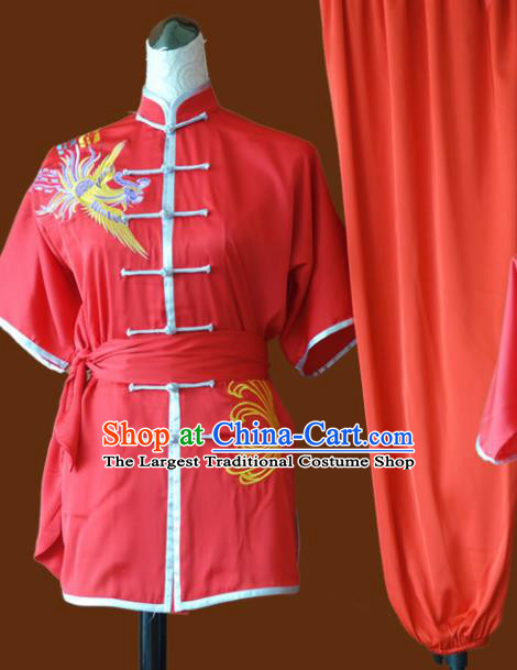 Chinese Traditional Tai Chi Embroidered Phoenix Red Uniform Kung Fu Group Competition Costume for Women
