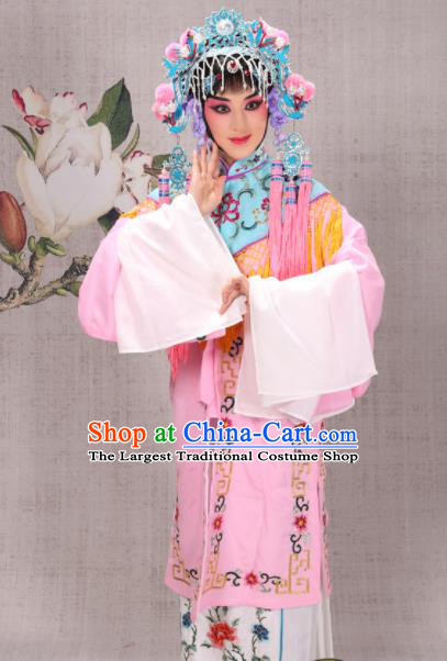 Professional Chinese Traditional Beijing Opera Costume Ancient Court Maid Pink Dress for Adults