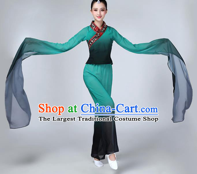 Chinese Traditional Stage Performance Dance Costume Folk Dance Green Water Sleeve Clothing for Women