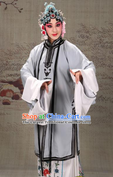 Professional Chinese Traditional Beijing Opera Actress Costume Ancient Grey Water Sleeve Dress for Adults